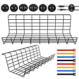 Magicfly Under Desk Cable Management, 2 Pack Widened Cable Tray for Wire Cord Organize with 3 Cord Holders and 4 Cable Ties, Metal Cable Rack for Office, Home, Black