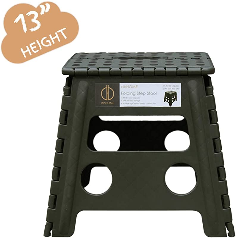 DbHOME Folding Step Stool With Handle For Kids Children And Adults Stepping Stool 13 Height Garden Step Stool And Holds Up To 300LBS Army Green