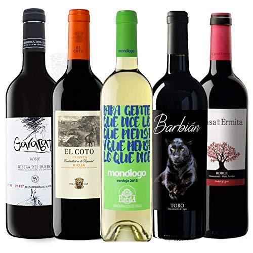 Pack de vinos para regalo - Vino tinto Garabato 2018, Borao 2019, Barbián Toro 2018, Casa de la Ermita Roble I Verdejo Monólogo 2019