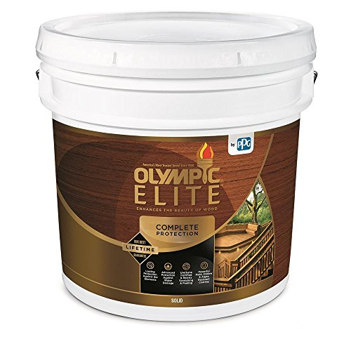 powerful Olympic Elite Advanced Solid Color Stain and Sealant, 3 Gallon Superior 80301 White Base 1