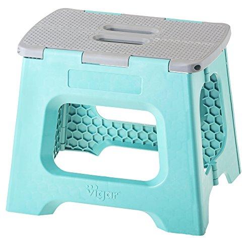 Vigar 8910, Taburete Compact Plegable, Turquesa y Gris, 33x27x27 cm
