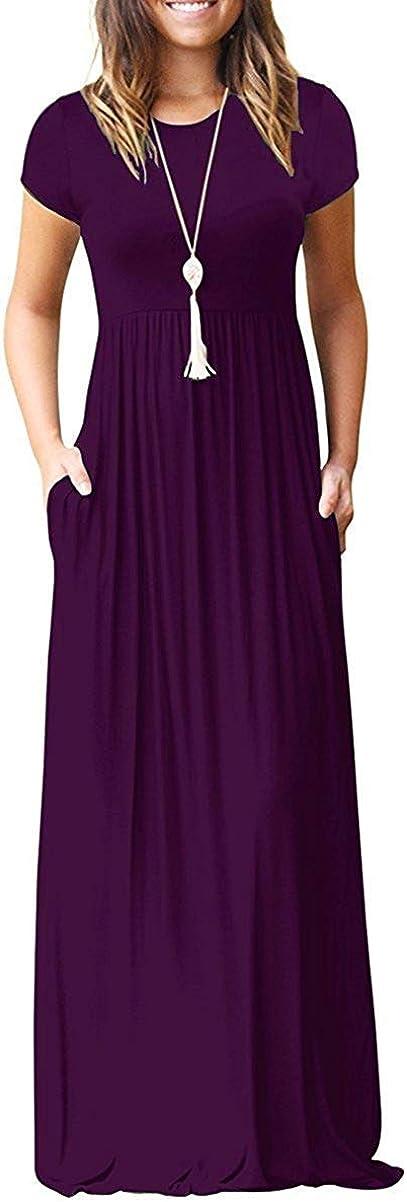 MISFAY Women Short Sleeve Loose Plain Maxi Dresses Casual Long Dresses Pockets