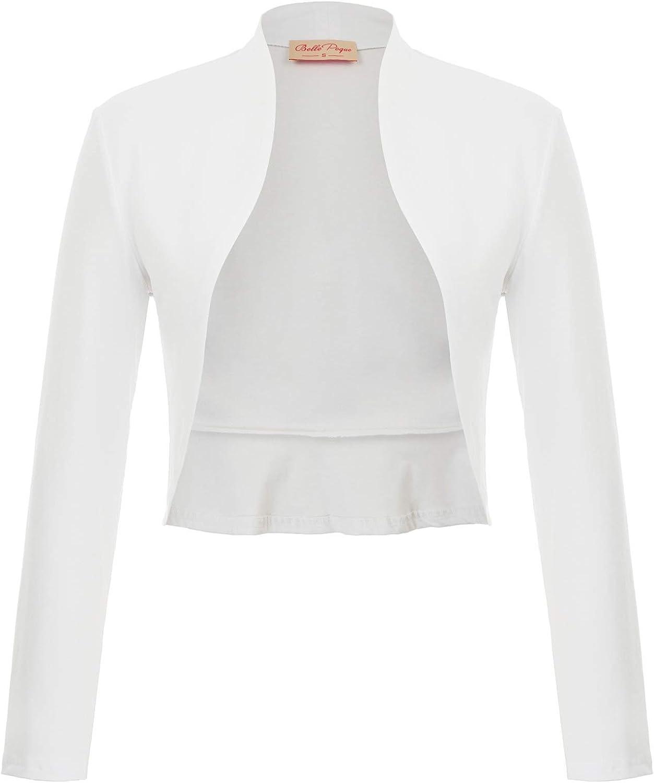 Belle Poque Women's Vintage Cropped Shrug Open Front Long Sleeve Ruffled Bolero Cardigan…