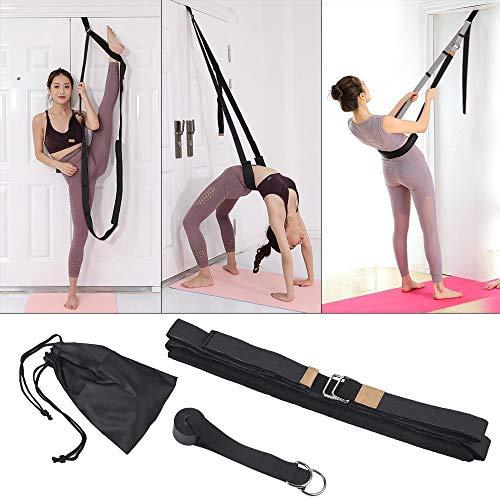 Xroam Yoga Fitness Stretching Strap & Back Bend Assist Trainer - Improve Leg Waist Back Flexibility for Rehab Pilates Ballet Dance Cheerleading Splits Gymnastics (Black)