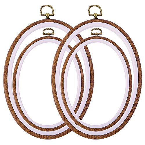 Caydo 4 Pieces Oval Embroidery Hoops, Imitated Wood Cross Stitch Hoops for Art Craft Sewing and Hanging