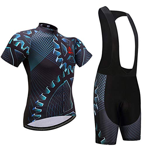 Quick Dry Tute Bike Abbigliamento Traspirante Traspirante Faukux Ciclismo Maglia Maniche Corte da Uomo con Bib Shorts