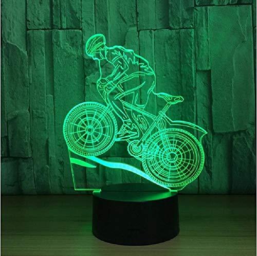 Lámpara de 7 colores Usb Lámpara Led 3D Bicicleta de montaña Luces nocturnas 3D Lámpara para dormir como decoración del hogar Regalo de Año Nuevo para amigos