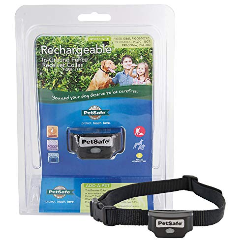 PetSafe Rechargeable In-Ground Fence for Dogs and Cats over 5lb and Waterproof Receiver Collar with Tone and Static Correction, Receiver Collar Only