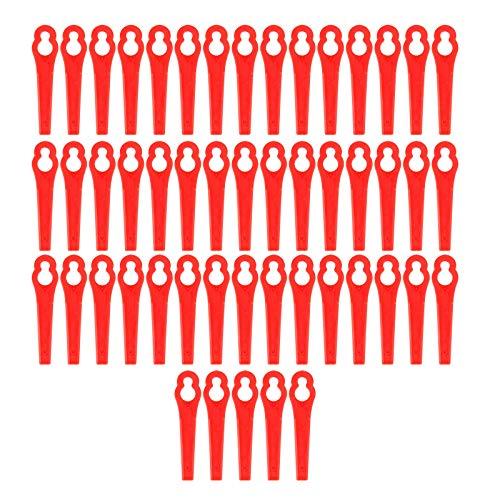 Juego de 50 cuchillas de plástico para desbrozadora Einhell de repuesto de cuchillas, de plástico, cuchillas, cambio de cuchillas, cortabordes con batería, rojo oscuro, Rojo