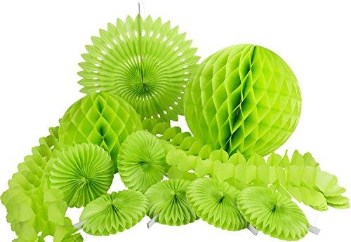 HEKU 30008-02: Party-Deko-Set mit Wabenbällen, Dekofächern und einer Girlande aus Papier, 10-teilig, grün