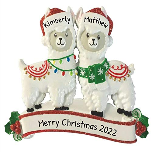 Personalized Llama Family of 2 Christmas Tree Ornament 2020 - Festive Love Together Friend Year Holiday Tradition Winter Fun Alpaca Favorite Lama Couple Sibling Travel Authentic - Free Customization