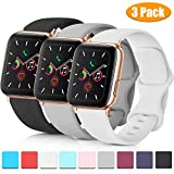 Pack 3 Compatible with Apple Watch Band Series 4, Soft Silicone Band Compatible iWatch Series 4, Series 3, Series 2, Series 1 (Black/Gray/White, 38mm/40mm-M/L)