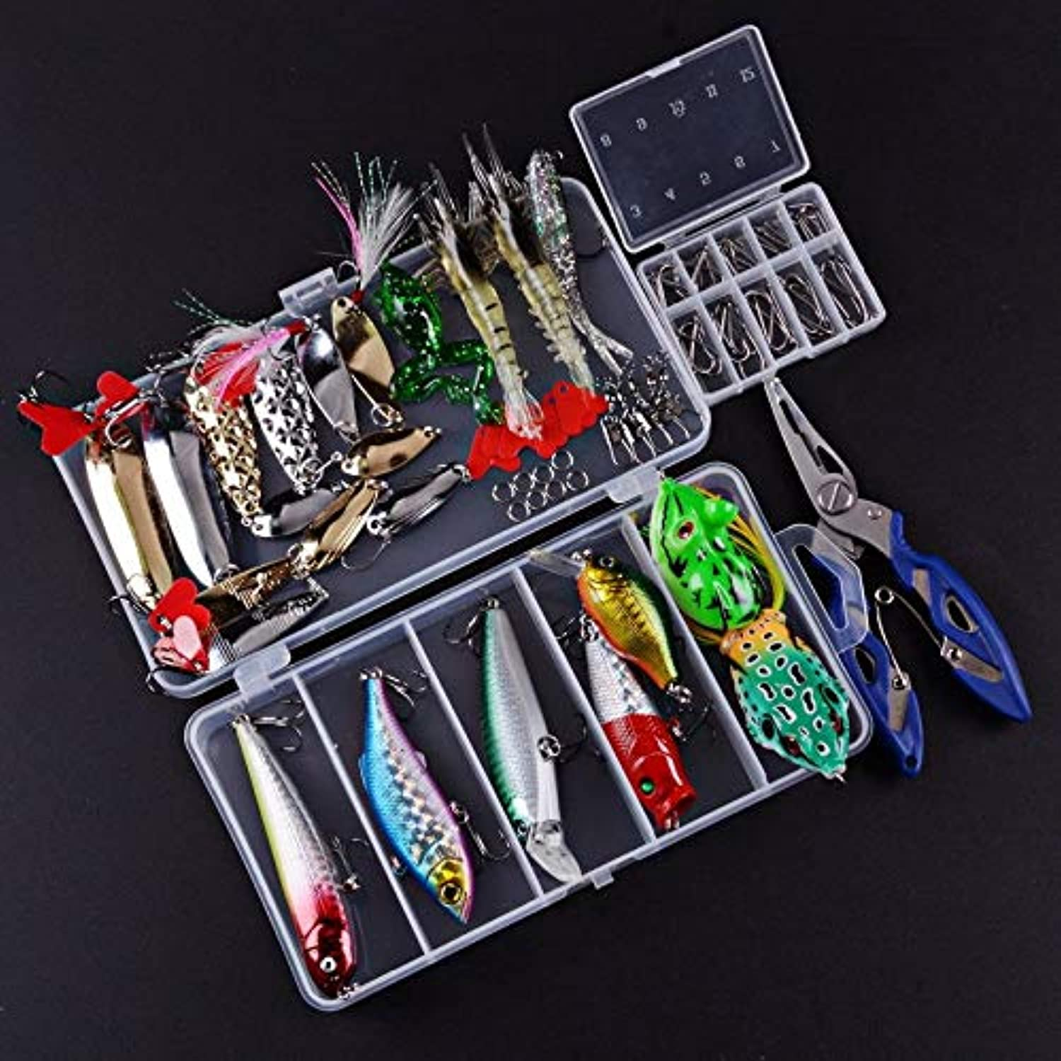 Generic Fishing Lure Kit Complete Set with Hard Lures Soft Bait Accessories Case Minnow Crank Popper Swivel Mixed 93pcs LS0013