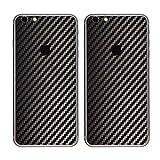 Paquete de 2 Fibra de Carbon Diseño Frustrar Resistente a rayones atrás Pegatina para iPhone 6 Plus/6S Plus | Antideslizante, Antipolvo, Ultra Delgado (70 Micrones) | Espalda a Prueba de Arañazos