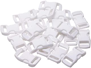 Penta Angel 3/8 Inch White Plastic Curved Buckle DIY Craft Webbing Contoured Side Quick Release Buckle for Bracelets Backpack Tactical Bag and Gear(White-20Pcs)