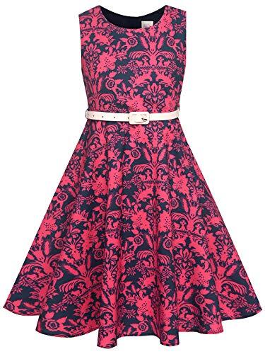 BONNY BILLY Mädchen Kleider Vintage Blumen Festlich Hochzeit Sommer Kinder Kleid mit Gürtel 8-9 Jahre/128-134 Rot (Ärmellos)