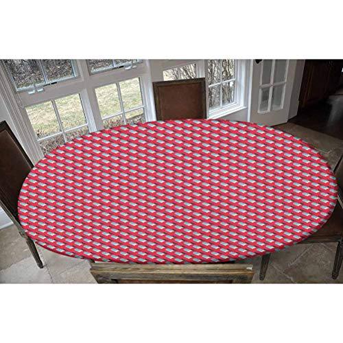 LCGGDB Mantel de poliéster elástico abstracto, diseño en estilo retro con formas ornamentales repetidas simples, rectangular y ovalado, para mesas de hasta 122 cm de ancho x 172 cm de largo.