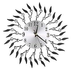AnzzhonVintage Flower Wrought Iron Diamond Fashion Wall Clock Bedroom Mute Metal Wall Clock Decoration (Black-A, 41X40X7cm)