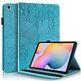 CaseFun Funda para Samsung Galaxy Tab S6 Lite 10.4 P610/P615 Árbol de la Vida Carcasa Cover Soporte Múltiple Ángulo y Bolsillo de Documento, Azul