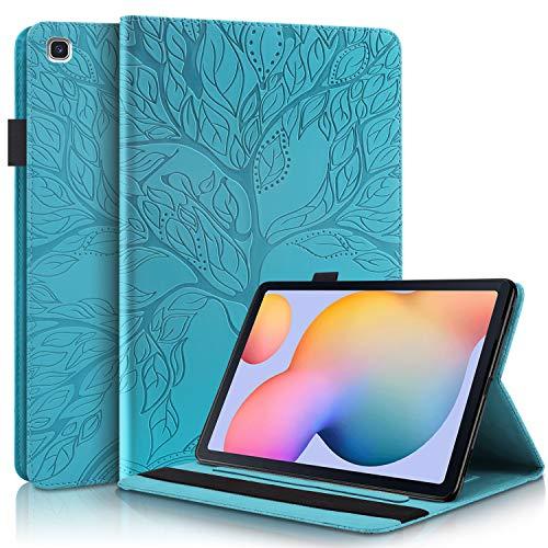 CaseFun Hülle für Samsung Galaxy Tab S6 Lite 10.4 P610/P615 Baum des Lebens Ultra Slim TPU Schutzhülle Tasche Folio Flip Stand Cover mit Kartenfächern, Blau