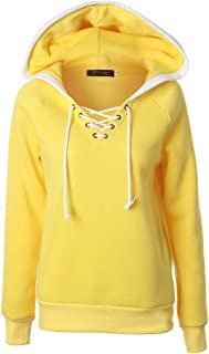 Women's Solid Color Hooded Pullover Tops Cross Drawstring Lace-Up Jumper Hoodie Sweatshirt