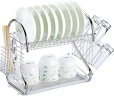 "2 Tier Kitchen Dish Drying Rack with Drain Board, Dish Organizer, Kitchen Organizer, Large Capacity 16.5""Lx10""Wx15""H, Plated Chrome Dish Dryer"