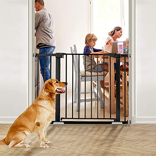Safety Gate, Pressure Fit Opening 32.3-35in, Metal Stair Gates With 4 Pack Mount Kits, Extendable Walk Through Gate For Dogs Baby