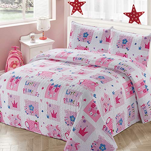 Luxury Home Collection 2 Piece Twin Size Quilt Coverlet Bedspread Bedding Set for Kids Teens Girls Princess Castle Crown Flowers Hearts Stars Pink White Purple Blue (Twin Size)