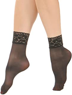 7b8d36264 Angelina Nylon Spandex Sheer Anklet Stocking with Lace (6-Pairs)