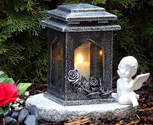 ♥ Grabschmuck Set Grablampe Rosen mit Granitsockel 22,0cm und Grabkerze Grablaterne Grableuchte Grablicht Laterne Kerze Licht Lampe Schutzengel Herz