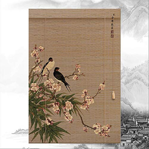 HAIPENG-Persianas Estores De Bambú Enrollable Ventanas Persianas Enrollables con Tirón Lateral Sombras Cortina Sala De Te Oficina Sala, 2.50mm (Color : A, Size : 130X250CM)