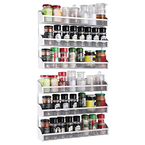 2 Pack- Simple Trending 3 Tier Spice Rack Organizer, Wall Mounted Spice Shelf Storage Holder for Kitchen Cabinet Pantry Door,White