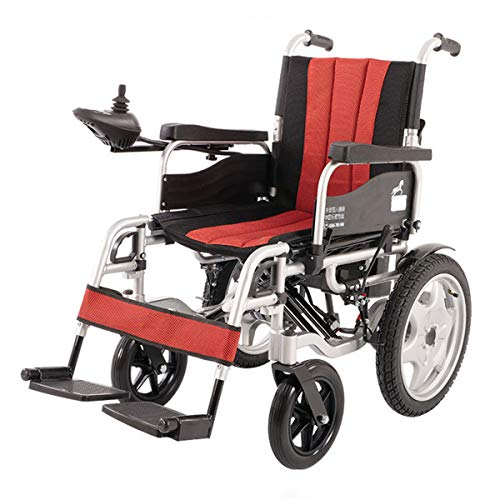 Best Prices! GJNWRQCY Elderly Disabled Electric Wheelchair Folding Lightweight Deluxe Foldable Power...