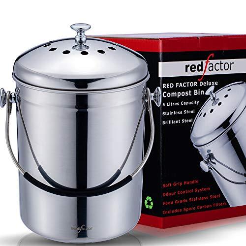 RED FACTOR Deluxe Compostiera da Cucina Inodore in Acciaio Inox - 6 Filtri di Ricambio in Carbone Attivo Inclusi (5 Litri, Inox Lucido)