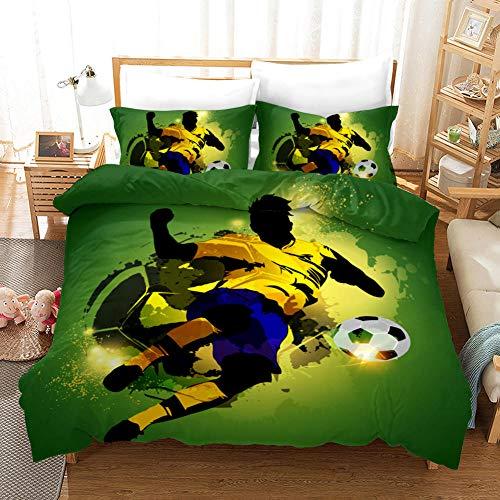 ZFSZSD Bettbezug Doodle Fußball Bettwäsche Set - Bettbezug und Kissenbezug,Mikrofaser,3D Digital Print dreiteiliger Bettwäsche King/Bettbezug 200 x 200 cm