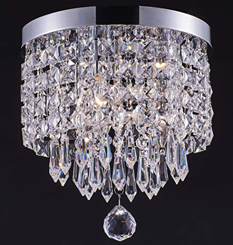Smart Lighting-Shupregu 3-Light Modern Crystal Chandelier, Flush Mount Crystal Ceiling Light, Chrome Finish Pendent Light for Hallway, Bedroom, Kitchen, Dimmer LED Bulbs Not Included
