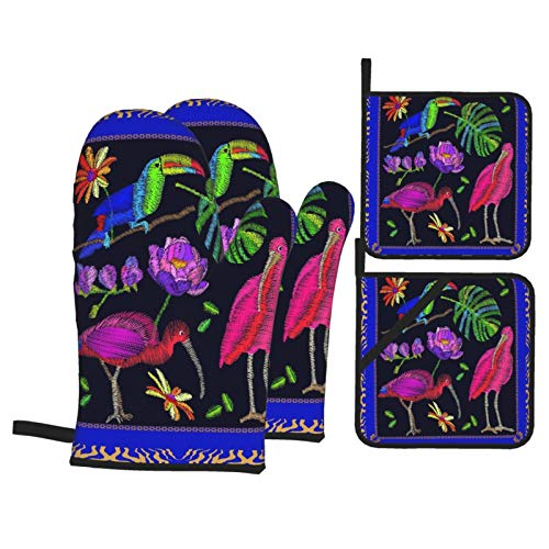 Ofenhandschuhe und Topflappen 4er-Sets,Brasilianische Vögel Schal Muster Ibises Tukan und Palmblatt Bunte Komposition Böhmische Motive,Polyester-Grillhandschuhe mit gesteppten,linerbeständigen heißen