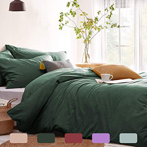 Lanqinglv Double Duvet Cover Set Dark Green Plain Microfiber Bedding Set Breathable Quilt Cover 200x200cm with Zipper Closure and 2 Pillowcases 50x75cm