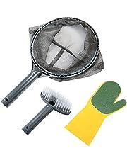 Recoge Hojas Recogehojas para Piscinas, Pool Net Leaf Skimmer, Red de Malla Fina para Piscina, Contiene Tres Kits de Limpieza, Cepillo de Limpieza y Cepillo para Fregar