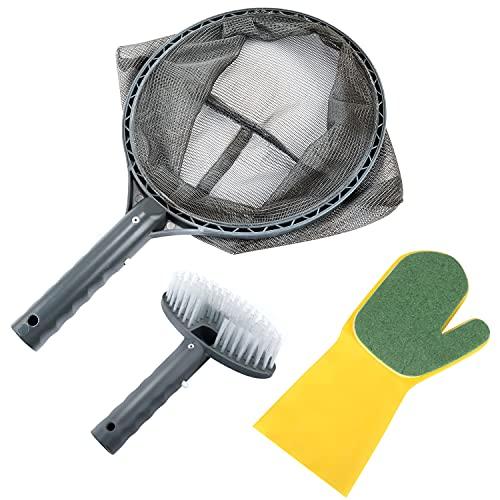 Netz Pool Kescher, Kescher Pool Reinigung zur Poolreinigung Blättern und Schmutz tief Laubkescher, Effektive Reinigun, Poolzubehör, Handschuh-Schwammbürste, Flachkopfbürste