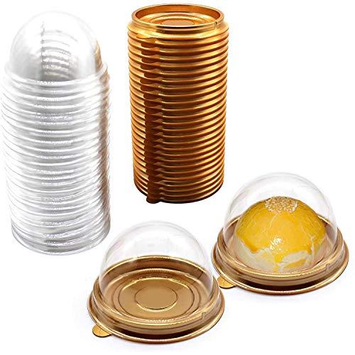 Timagebreze Recipiente de PláStico Transparente para Cupcakes, 50 Piezas Caja de Pastel de Muffin Pod Dome Muffin Contenedores Individuales para Cupcakes PláStico Desechable