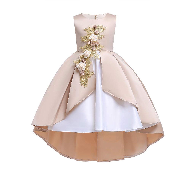 ガールズドレス 子供ドレス ワンピース 女の子 不規則な裾 花 ピアノ 発表会 結婚式 入園式 おしゃれ キッズワンピース