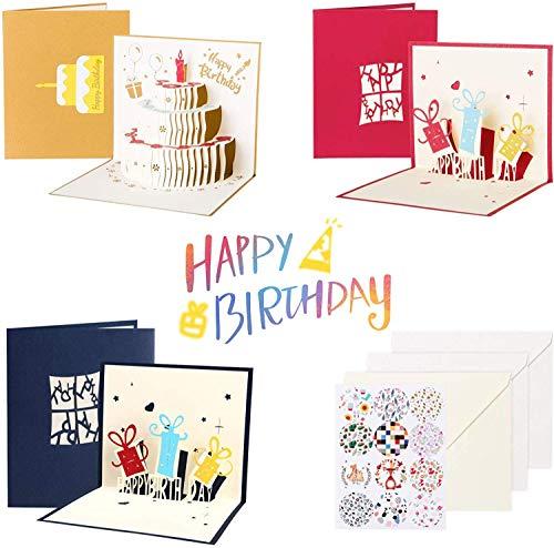 Kesote 3D Pop Up Karte 3x Geburtstagskarte mit Umschläge Etiketten (3 Formen)