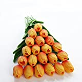 JUSTOYOU Tulip Real, Flores Artificiales para Ramos de Boda, hogar, Hotel, decoración de jardín, Eventos, Navidad, como Regalo, Naranja, 20 Piezas.