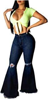 AOGOTO Womens Kardashian Jeans,Jeans strappati con zip tasca con bottoni in denim