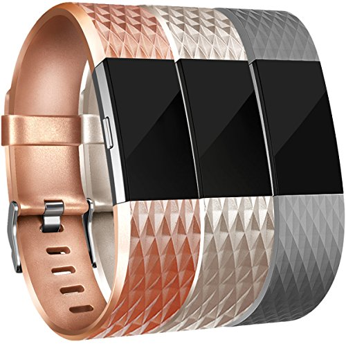 Amzpas Bands Compatible with Fitbit Charge 2 Bands Small Large Adjustable Replacement Accessories Wristbands for Women Men (Rose Gold & Champagne & Gray, Large)