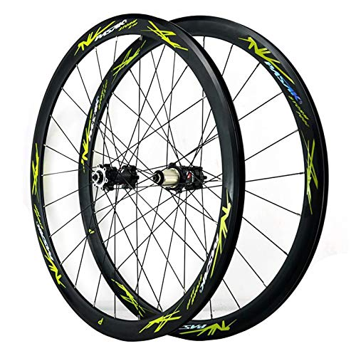 ZFF 700C Road Bike Wheelset Cyclocross Road Disc Brake Wheel V/C Brake 40MM Double Wall 7-12 Speed (Color : Green, Size : Thruaxle)