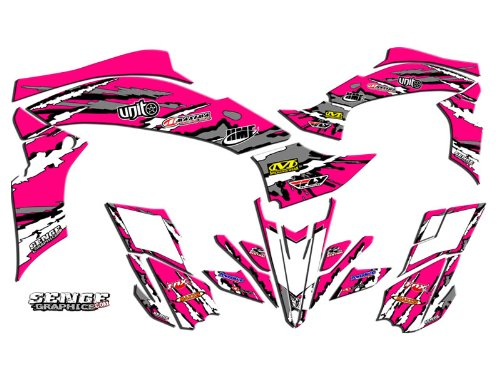 Senge Graphics Kit compatible with Yamaha All Years Raptor 90, Shredder Pink Graphics Kit with blank number plates