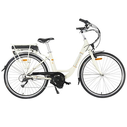 Onway 28 inch dames E-bike, nauwkeurige Shimano 7 versnellingen, Bafang 250 W centrifugaalmotor, 36 V 10.4 Ah Sanyo lithium-accu, 5 ondersteuningsniveaus, LCD-modus display