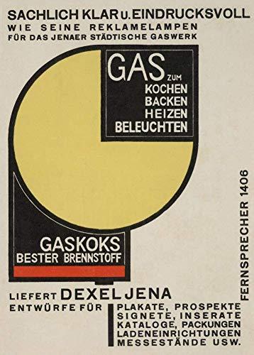 Vintage Bauhaus - Póster de Bauhaus (200 g/m², A3, diseño de gas para cocinar, hornear, calor, luz, alemania, 1924, Walter Dexel, 200 g/m²)